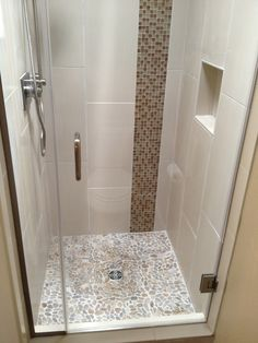 Contemporary 3/4 Bathroom with Tiled shower, River Rock Brookstone Natural Stone Pebble Mosaic Floor and Wall Tile