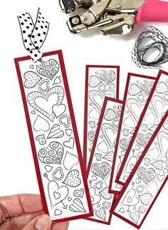 Let's hear it for love...of books! Print and color Valentine heart bookmarks for yourself or as a great non-candy treat for passing out at school. #AdultValentineCrafts