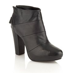 Faith Black high heel panelled leather ankle boots?