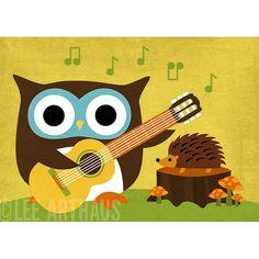 Guitar playing owl