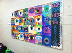 """Keep your Eyes on the Arts"" display. , integrated science and art, oil pastels.  Wayne, NJ"