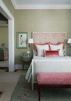 ANOTHER nice bedroom! (LOVE that touch of pink fabric in the headboard).  (from pinkwallpaper.blogspot.com)