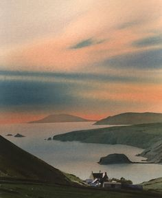 Enlli from Rhiw, an original watercolour painting   Paintings by Welsh artist Rob Piercy