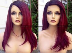 $82.95 -- Yaki texture burgundy wine red lace front wig with ombre black roots. 18 Long, straight, heat safe, and custom-styled by yours truly.  THE