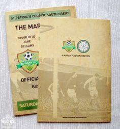 football programme themed wedding mass booklets http://www.wedfest.co/football-themed-wedding-stationery/