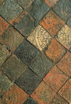 "Medieval floor tiles. Source: ""Builders and Decorators: Medieval Craftsmen in Wales""  CADW, 2008. ISBN 9781857602524"