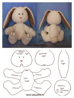 17 Rabbit Molds for Easter Crafts - Watch Now! - 17 Bunny Crafts for Easter Crafts – Watch Now ! Sewing Stuffed Animals, Stuffed Animal Patterns, Animal Sewing Patterns, Doll Patterns, Teddy Bear Patterns, Pattern Sewing, Bunny Crafts, Easter Crafts, Sewing Crafts