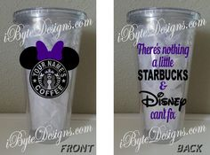 Custom  Minnie or Mickey Mouse Starbucks There's by iByteDesigns