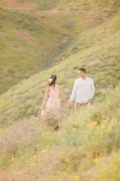 Ethereal Romantic engagement shoot in the hills featuring a pearl beaded flower crown by Love Sparkle Pretty http://lovesparklepretty.com/blog/romantic-engagement-shoot-flower-crown and pink flowing dress. Photo by Kristen Booth. Engagement photography | couple | couple photography | flower crown | blush pink flower crown | beaded flower crown | engagement style