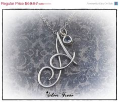 Personalized Calligraphy Script Birthstone Initial Pendant Sterling Silver on a or 18 Inch Chain Wire Pendant, Initial Pendant, Wire Wrapped Pendant, Wire Wrapped Jewelry, Metal Jewelry, Pendant Jewelry, Sterling Silver Initial Necklace, Wire Necklace, Bijoux Fil Aluminium
