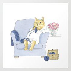 1013 Knitting Cat - Kitten Socks Art Print