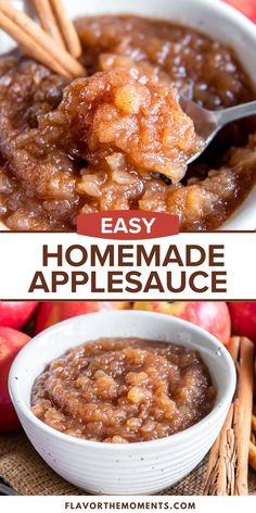 This easy Homemade Applesauce Recipe is one of the best ways to celebrate apple season! It's packed with warm cinnamon and a fresh flavor that only homemade has, plus it's ready in about 30 minutes! #applerecipes #glutenfree #fallrecipes