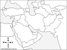Outline map of Middle East C1Wks1,3,4,5