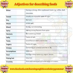 Adjectives for describing food part 2