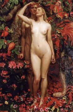 "Garden of Eden:  #Adam, #Eve, and the #Serpent ~ ""The Woman, the Man, and the Serpent,"" by John Byam Liston Shaw, 1911."