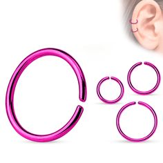Continuous-ring titanium anodized purple Piercings, Titanium Rings, Hoop Earrings, Purple, Jewelry, Watches, Ring, Peircings, Jewels