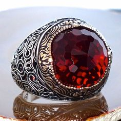 Mens ring 925 Sterling Silver Ruby Red Zirconia size US11 free resizing #KaraJewels #Turkish
