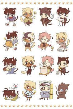 Chibi neko Detective Conan characters, too cute! Even the mystery bad guy got neko-tized, lol! Conan Comics, Detektif Conan, Anime Chibi, Anime Manga, Anime Art, Magic Kaito, Top Anime, Super Manga, Manga Detective Conan