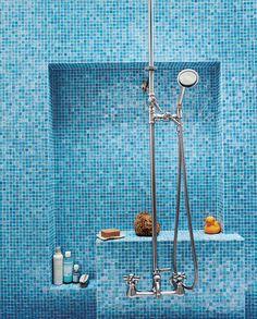 Blue bathroom tile ideas blue bathroom tile simple home designs ceramic kitchen wall tiles companies design ideas pink and blue tile bathroom decorating Glass Tile Bathroom, Blue Glass Tile, Blue Tiles, Small Bathroom, Glass Tiles, Sea Glass, Beige Bathroom, Bathroom Colors, Bathroom Vanities