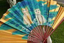 handpainted cat folk art gold asian oriental paper fan wall art cherry wood blue Hand Held Fan, Hand Fan, Paper Fan Decorations, Wall Fans, Paper Fans, Folk Art, Oriental, Cherry, Wall Decor