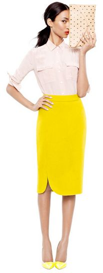Cute! #jcrew, yellow pencil skirt, work clothes,  -----------  F+ F+clothes enough fashion,  Work outfits my style, fashion women's fashion,