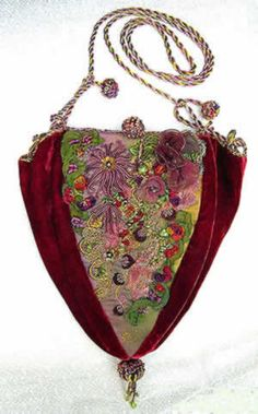Wonderful Ribbon Embroidery Flowers by Hand Ideas. Enchanting Ribbon Embroidery Flowers by Hand Ideas. Embroidery Bags, Silk Ribbon Embroidery, Vintage Embroidery, Embroidery Patterns, Embroidery Tattoo, Embroidery Thread, Machine Embroidery, Vintage Purses, Vintage Bags