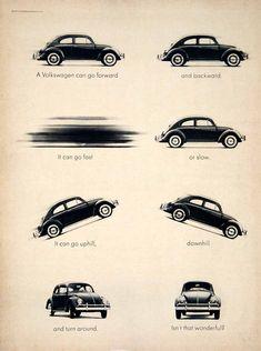 1963 Ad Vintage Volkswagen VW Beetle Bug Small Car Automobile Humorous Humor