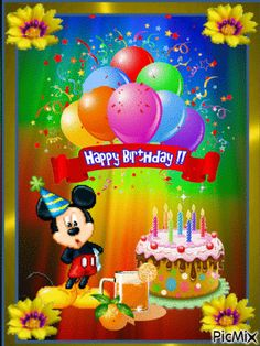 10 Cute Happy Birthday Animations And Gifs - Geburtstag - Happy Birthday Mickey Mouse, Happy Birthday Wishes Cake, Happy Birthday Kids, Happy Birthday Celebration, Birthday Wishes Messages, Birthday Blessings, Happy Birthday Pictures, Special Birthday, Disney Birthday Wishes