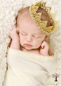 Seriously, the sweetest thing... Newborn elegant gold lace Princess Crown by HushaByeCreations, $16.00