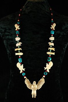 Turquoise Necklace - Native American Jewelry - Eagle Fetish Necklace - Beadwork - Indian Jewelry - Shaman - Ethnic Jewelry - Tribal Necklace. $135.00, via Etsy.