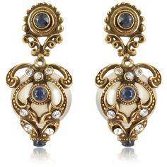 Alcozer & J Gemstone & Pearl Drop Earrings found on Polyvore