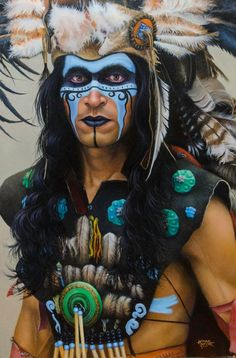 "Artist Michael Meyer photographed the subject of ""Mayan Warrior"" on a street in Mexico. Artist Michael Meyer photographed the subject of ""Mayan Warrior"" on a street in Mexico. Native American Beauty, American Indian Art, American Indians, Native American Face Paint, Native Indian, Native Art, Visage Halloween, Tribal Makeup, Tribal Warrior"