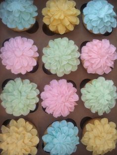 Pastel Flower Cupcakes created by 350 Classic Bakeshop in Mamaroneck , NY