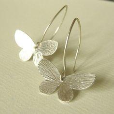 Floating Butterfly Earrings - Silver