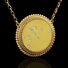 Are you into Astrological Signs and Horoscopes? You can get your zodiac's constellation on a pendant so that you can carry it around with you at all times! Aquarius Zodiac Constellation Vintage Style Diamond Dics Pendant 14K Gold $549 #orospot #gold #diamond #pendant #necklace #constellation