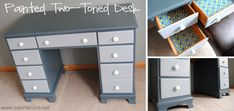 Painted Two-Toned Desk + Tips on Painting Furniture - Including a tip on eliminating brush strokes