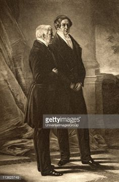 Arthur Wellesley 1stDuke of Wellington17691852 British soldier and statesman and Sir Robert Peel 2nd Baronet17881850 British prime minister Engraved...