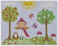 Stitch this charming little red riding hood cross stitch design! All patterns are deliverd by email in pdf format. Cross Stitch For Kids, Cross Stitch Baby, Modern Cross Stitch, Cross Stitch Designs, Cross Stitch Patterns, Diy Embroidery, Cross Stitch Embroidery, Embroidery Patterns, Red Riding Hood
