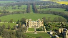 Aerial view of the Hardwick hall and gardens
