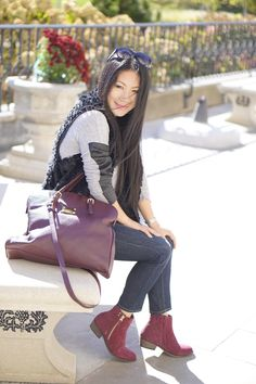 all street style black fur vest+BCBG grey sweater+joe's jeans +Chloe sunglasses+ burgundy leather bag+burgundy booties+movado watch