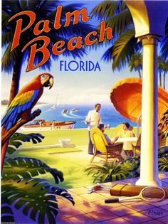 Palm Beach Florida Parrot Ocean United States Travel Advertisement Art Poster | eBay