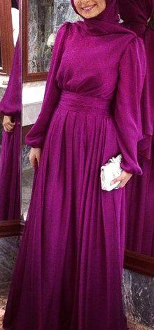 Instagram: @Alanur Kaya | Fuschia Gown.  #Hijab