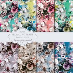 Seamless Floral Patterns  Digital Paper 8 Digital by rizapekerart#digital #papers #print #pattern #fashion #design #floral #wallpaper #seamless