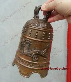 Chinese ancient Style Oriental Tibet Monastery Bronze dragon Vintage peace Bell