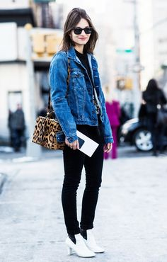 Wear your denim jacket and skinny jeans with unexpected white boots and a leopard box bag