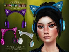 Sims 4 Mods Clothes, Sims 4 Clothing, Sims 4 Cas, Sims Cc, Los Sims 4 Mods, Cat Headphones, Sims 4 Anime, Sims 4 Dresses, Sims Hair
