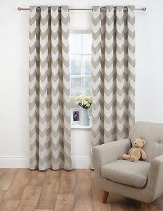 Good Chevron Jacquard Eyelet Curtains | Mu0026S