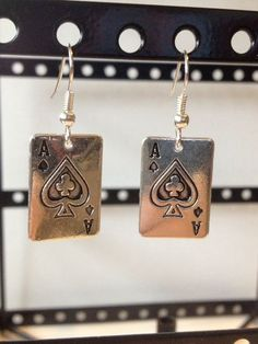 Tiny playing cards dangle earrings. $5