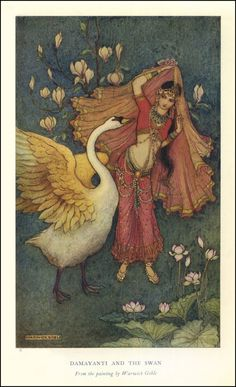 Damayanti and the Swan by Warwick Goble for the book of Indian Myth & Legend