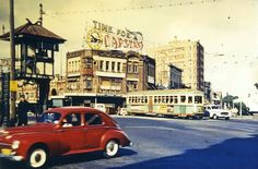 1959: a bustling Oxford Street, at Taylor Square, Darlinghurst. http://www.cityofsydney.nsw.gov.au/history